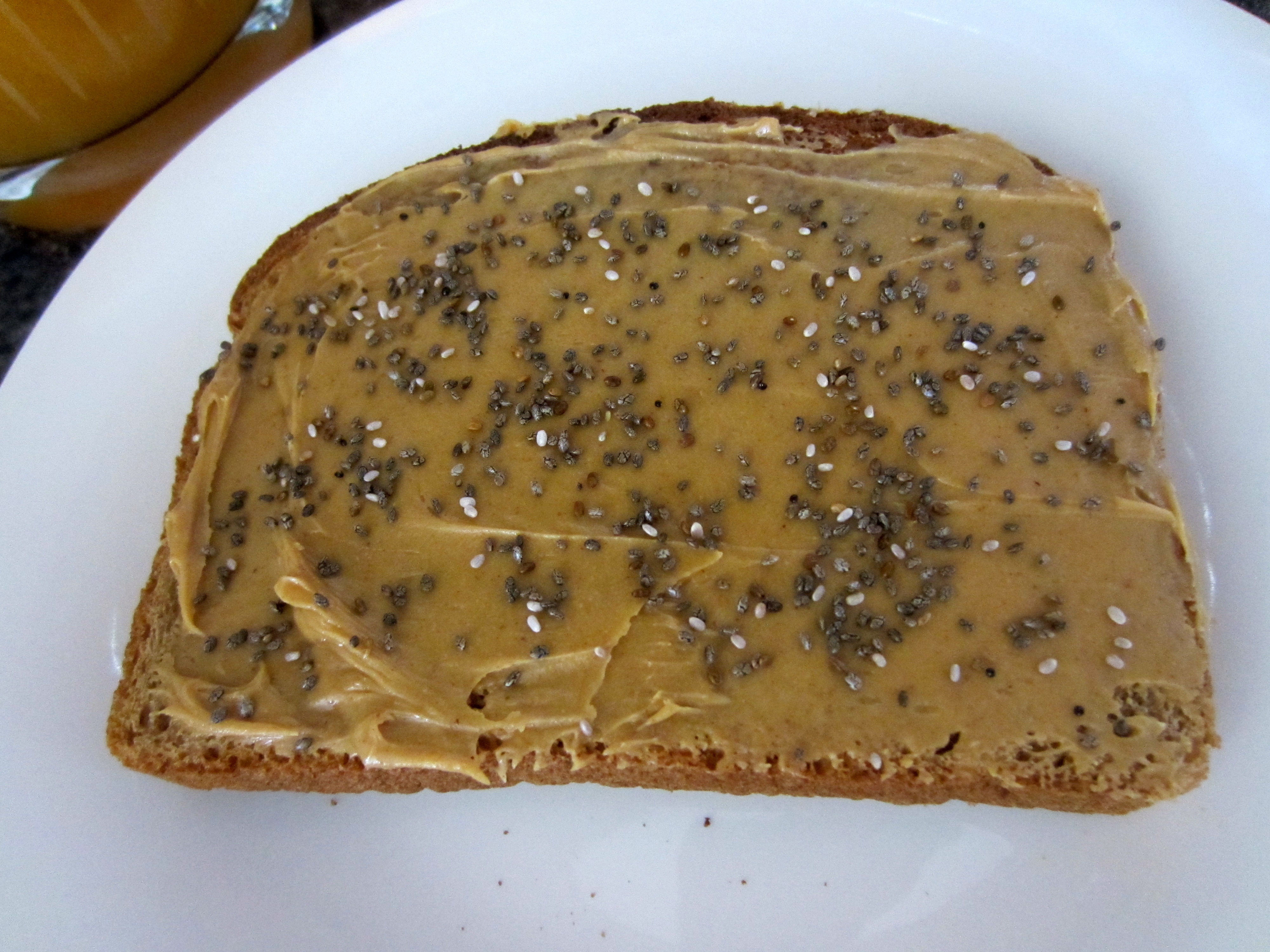 Peanut Butter and chia seeds on toast
