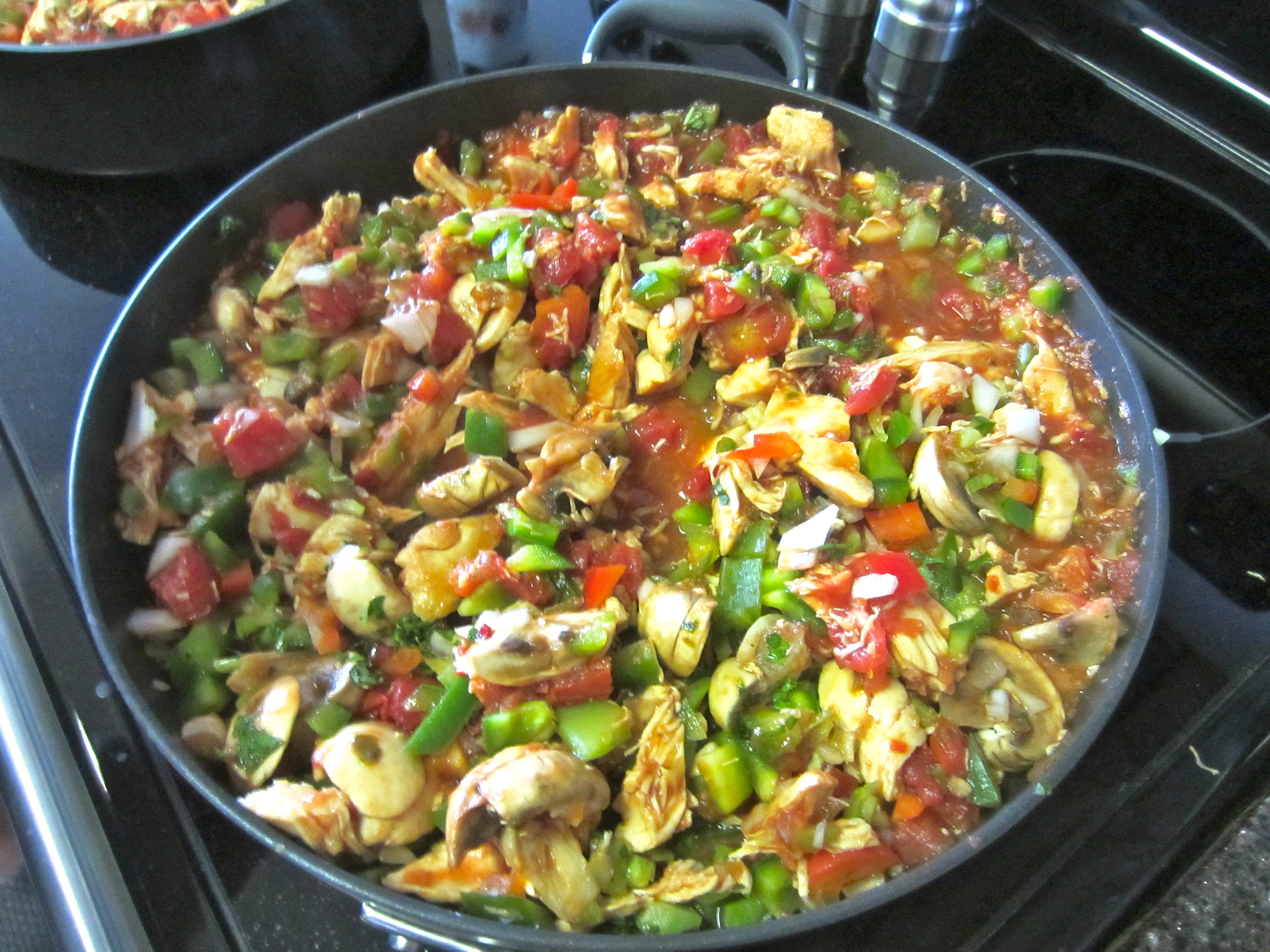 Chicken Creole on stove