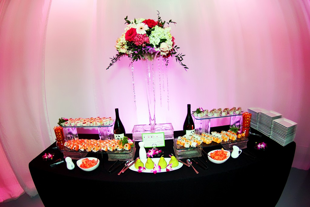 Sushi station at wedding reception