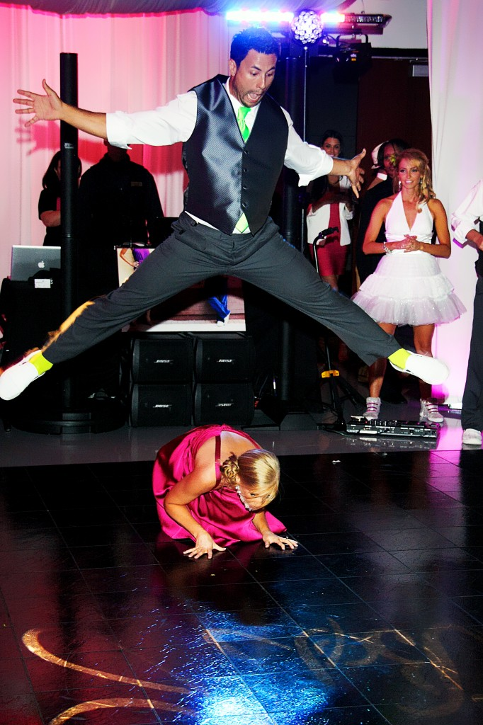 Leapfrog at wedding reception