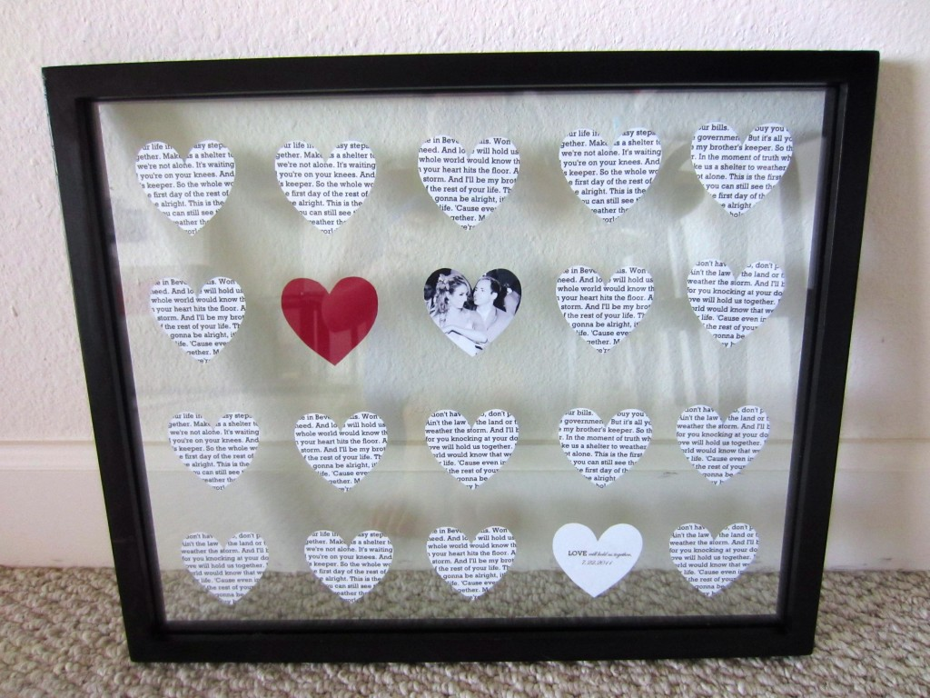 50th Wedding Anniversary Gifts Diy : used a ruler to help push everything into straight lines.