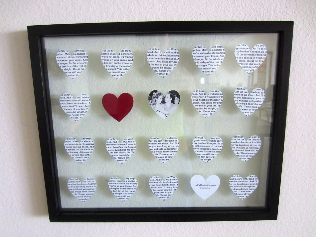 Wedding Anniversary Gift Ideas Diy : DIY wedding song lyrics picture frame