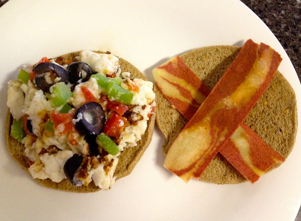 healthy bacon, veggie and egg white sandwich