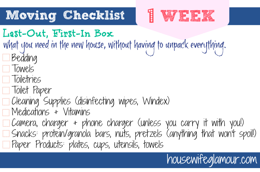 Moving Checklist 1 Week Last-Out First-In Box checklist
