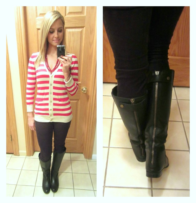 Urban Outfitters Boots and striped sweater