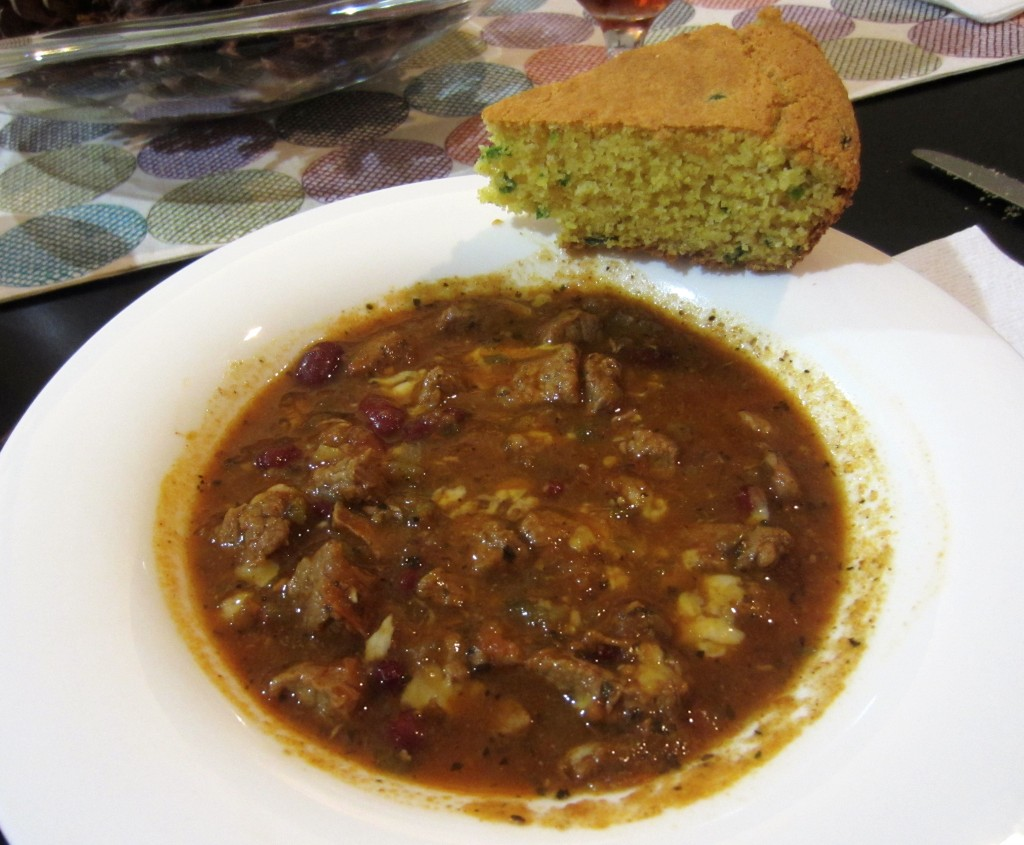 thanksgiving chili with cornbread