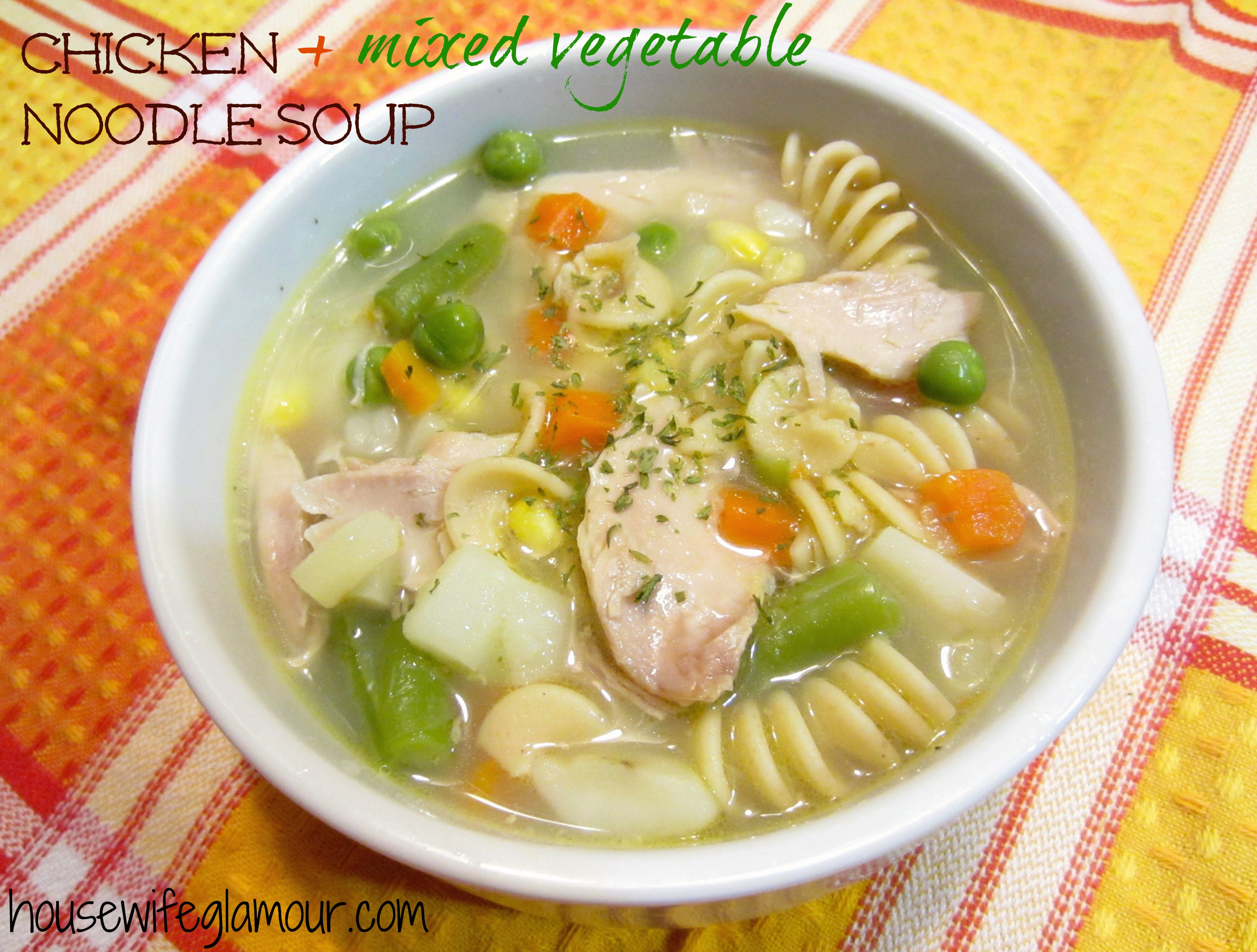 Chicken and Mixed Vegetable Noodle Soup
