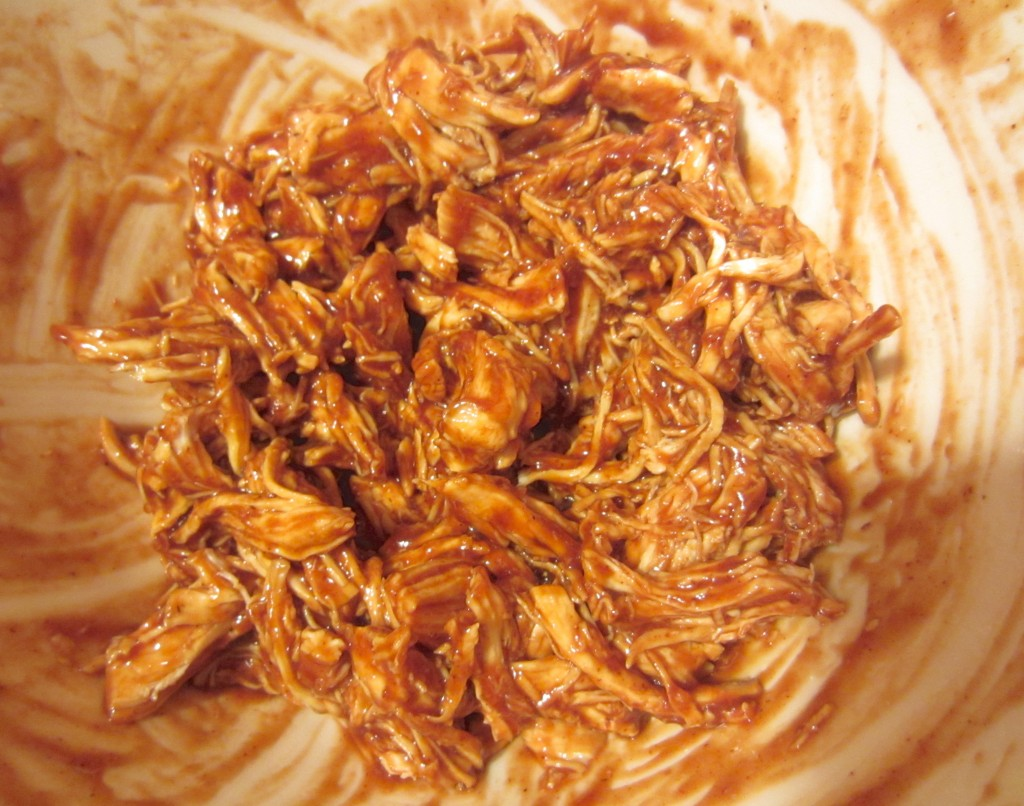 shredded chicken in barbeque sauce