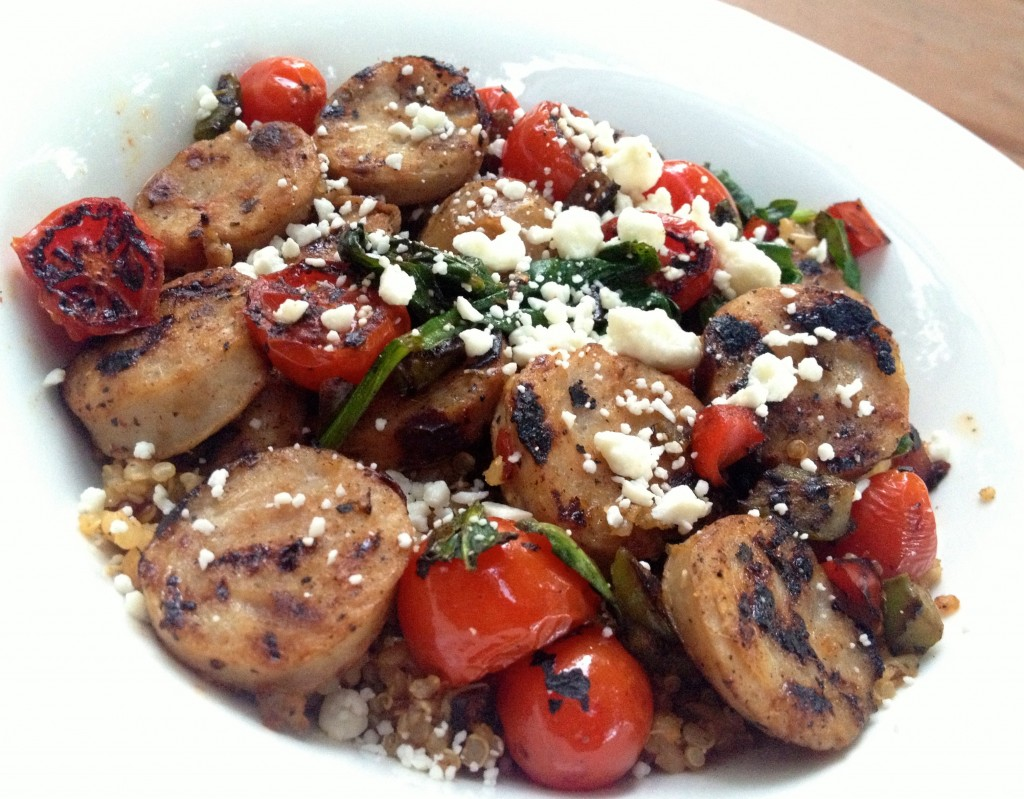quinoa bowl with chicken sausage