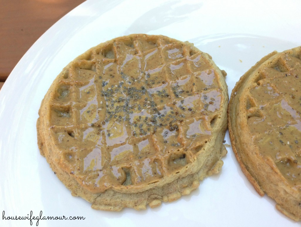 Nut butter on kashi waffles
