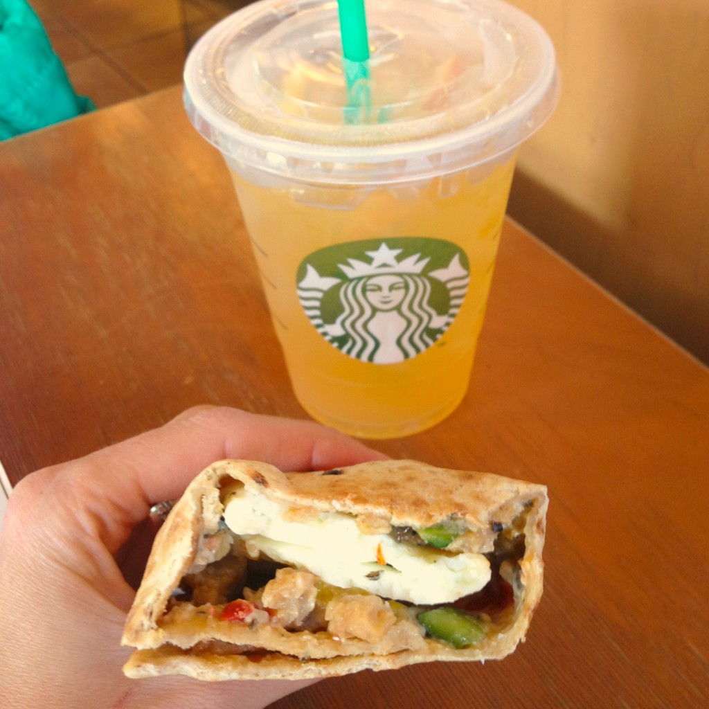 Starbucks Valencia Orange Refresher and chicken sausage wrap