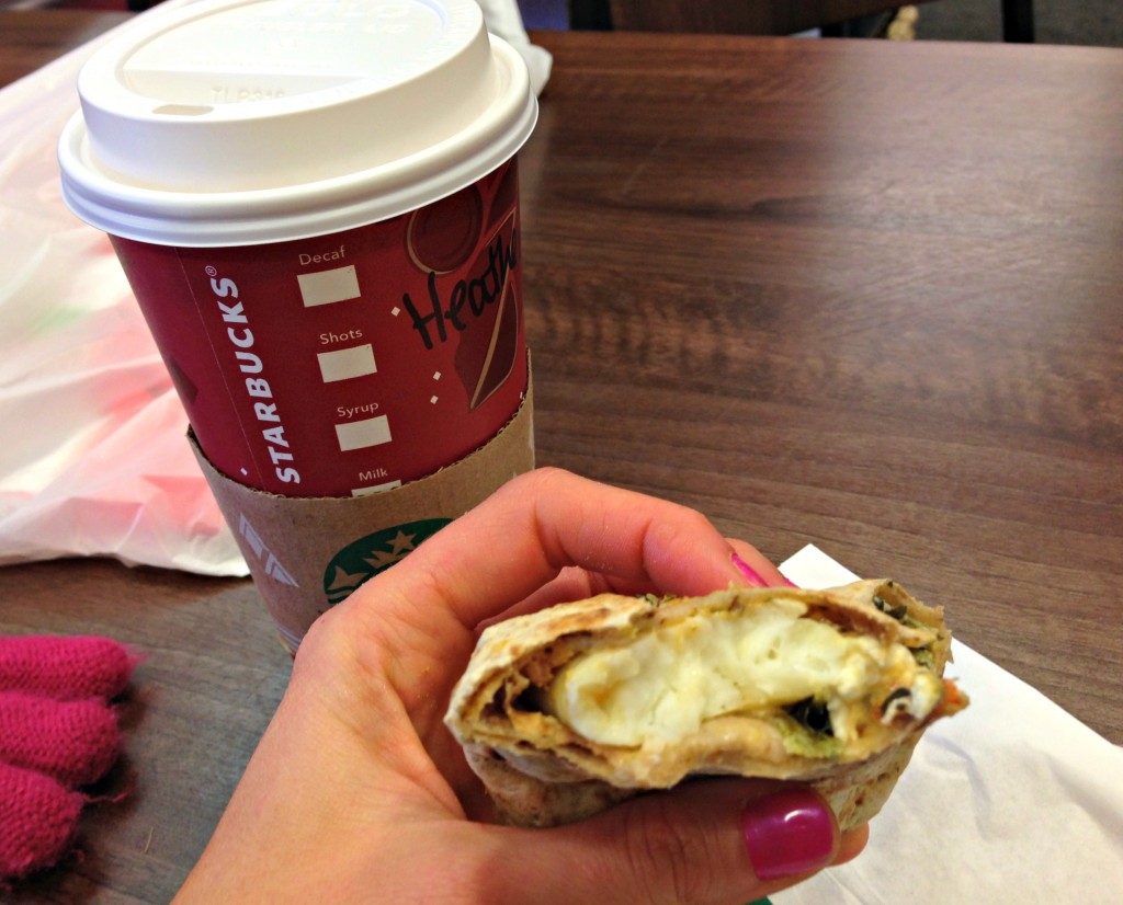 starbucks holiday drink and wrap