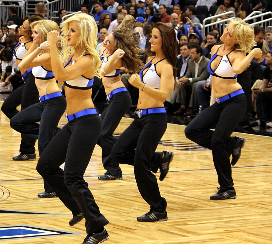 dancing on court orlando magic dancers