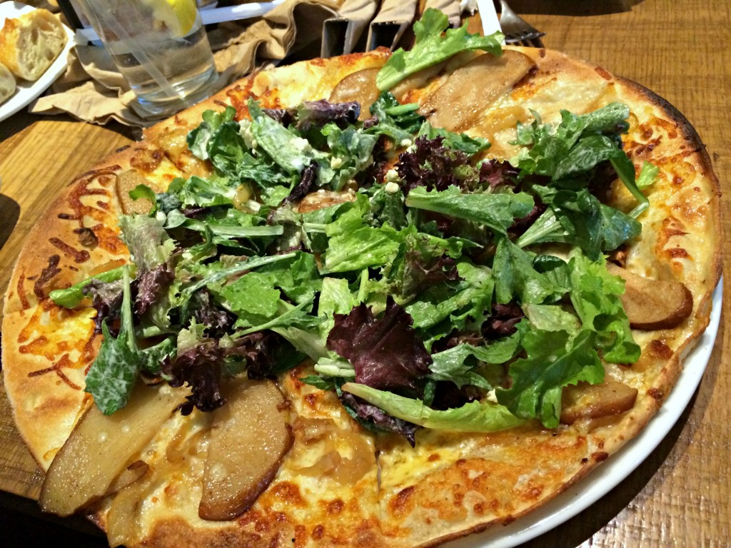 CPK pear and gargonzola cheese pizza
