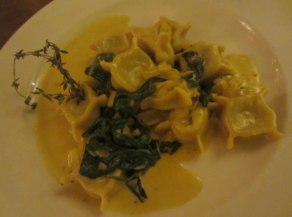 The Plaza Hotel cafe shrimp spinach tortellini