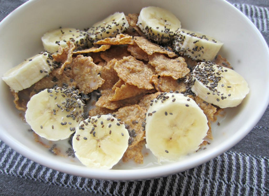 cascadian farms raisin bran with bananas and chia seeds