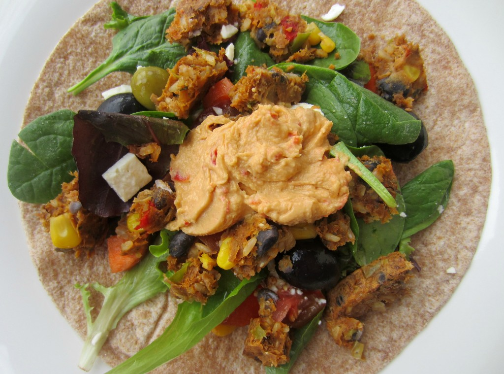 veggie burger wrap with lots of greens