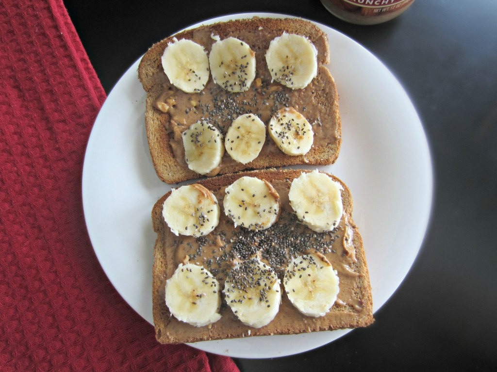 almond butter and bananas on toast with chia seeds