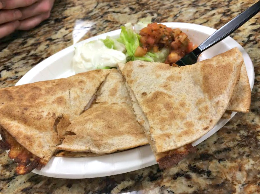 chicken quesadilla at lifetime cafe