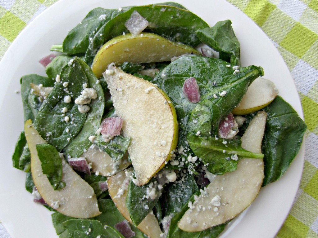 spring pear and spinach salad