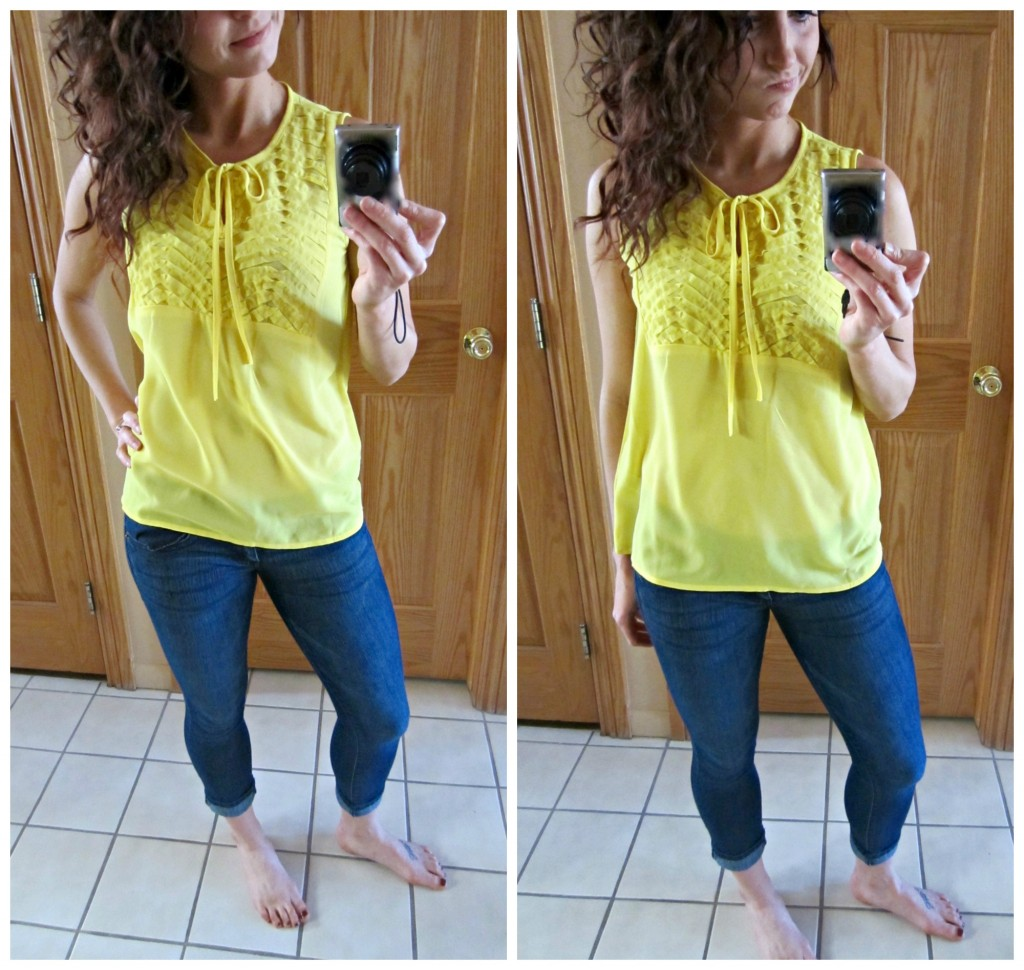 stitch fix yellow blouse