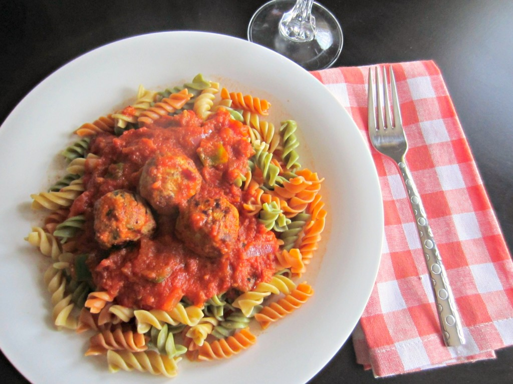 veggie noodles and chicken sausage meatballs