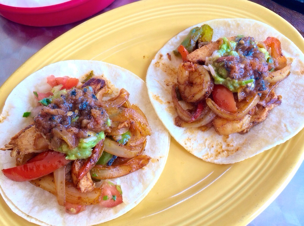 chicken steak shrimp fajitas at miguels cantina