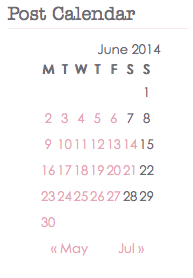 Post Calendar for blogging