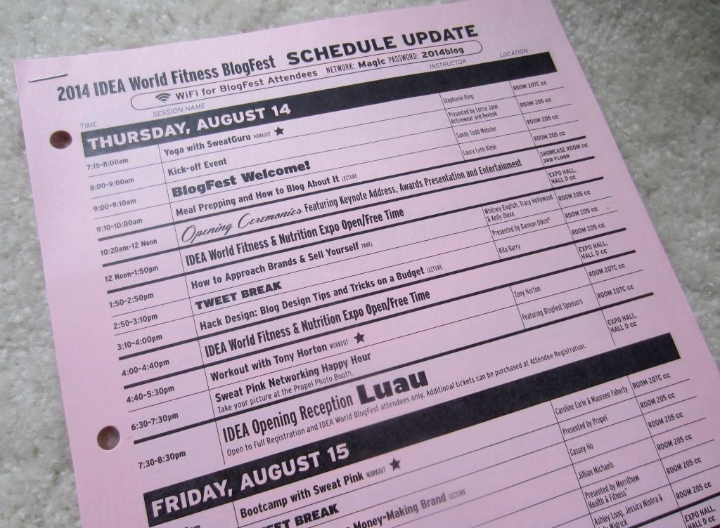 IDEA World Fitness BlogFest schedule