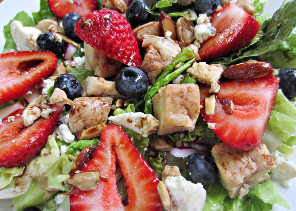 chicken and berry honey roasted almond salad