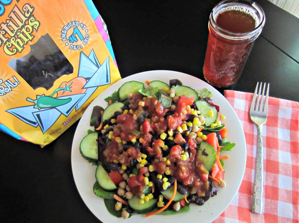 monster salad with salsa and beans