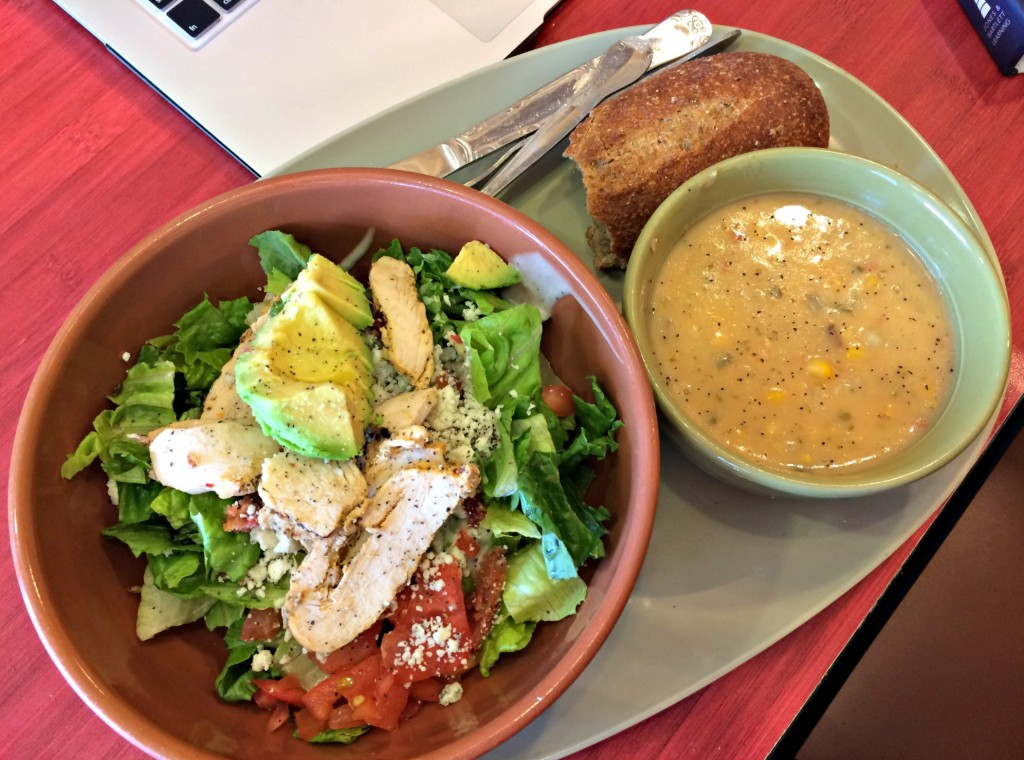 panera chicken cobb salad and corn chowder soup