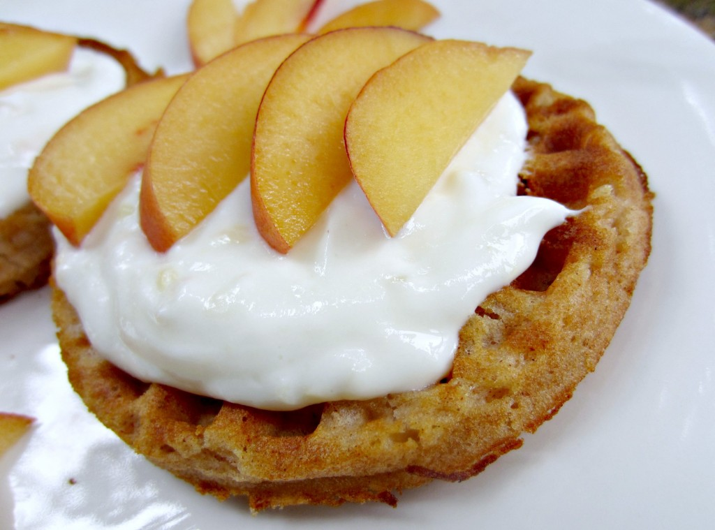 van's gluten free apple cinnamon waffles with yogurt and peaches