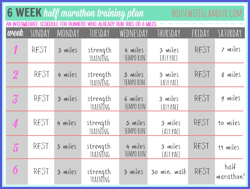 6 week half marathon training plan