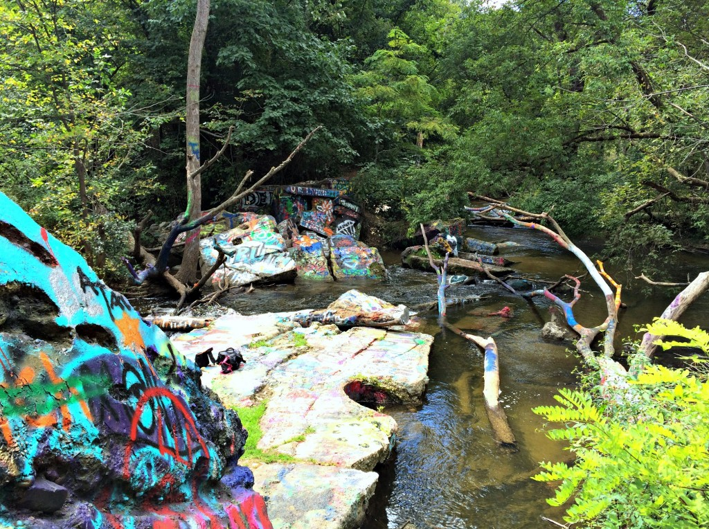 graffiti rocks paint creek trail