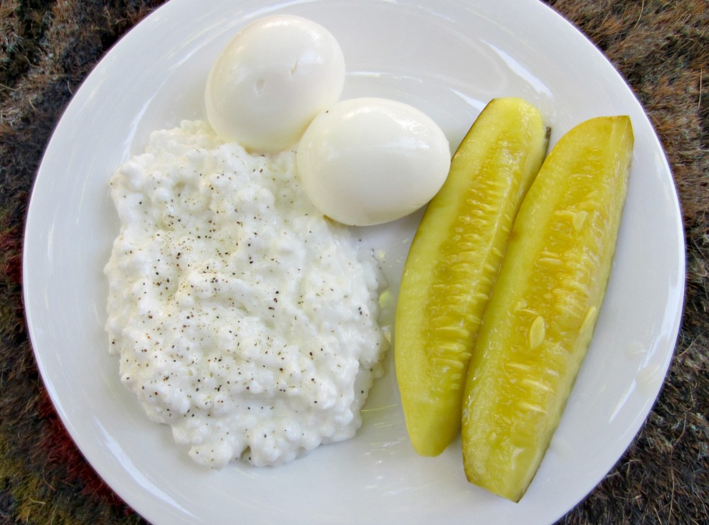 hard boiled eggs cottage cheese and pickles snack