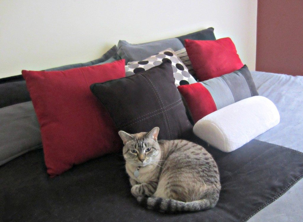 making the bed and fun throw pillows