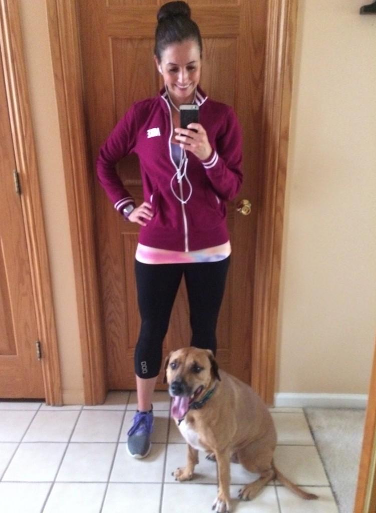 running in a sweatshirt with roadie