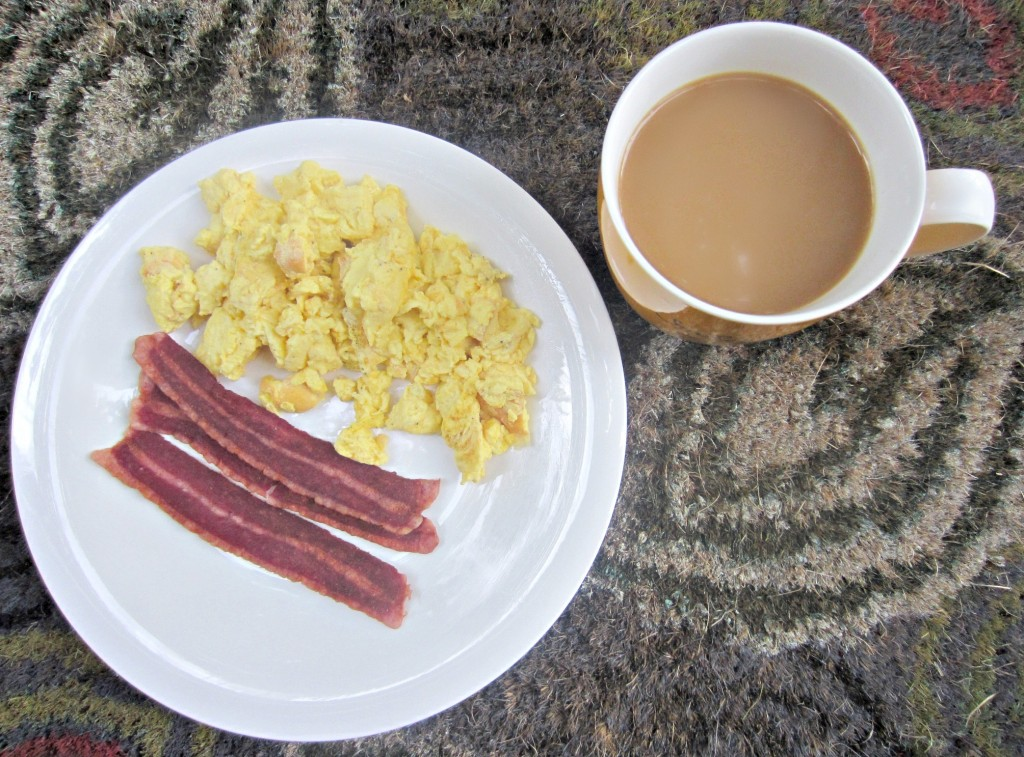scrambled eggbeaters and turkey bacon breakfast