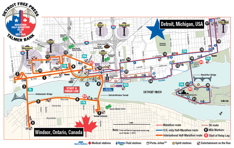 Detroit Free Press Half and Marathon Course Map 2014
