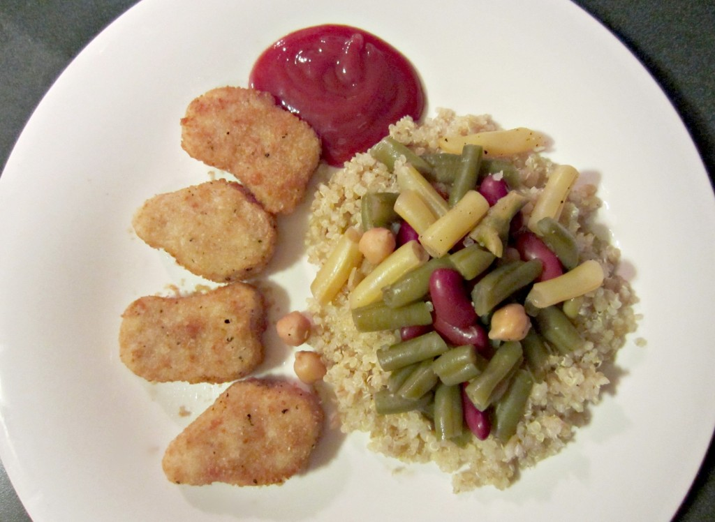 healthy dinner quinoa vegetables quorn chicken nuggets