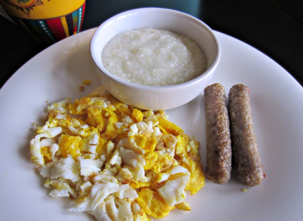 real eggs grits and apple chicken sausage breakfast