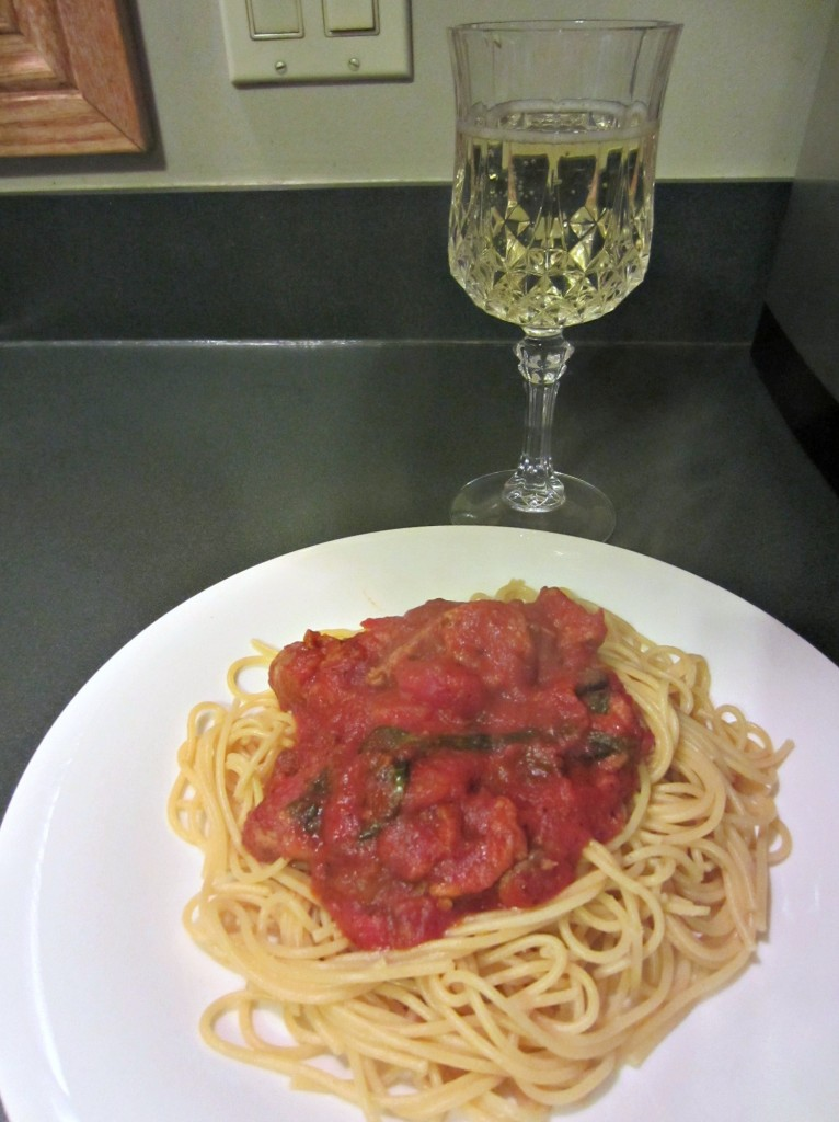 spicy healthy pasta and wine