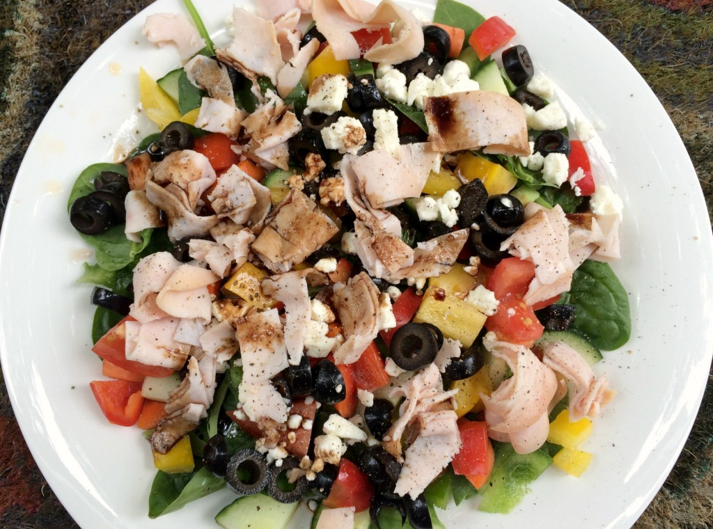 veggie and turkey salad with feta