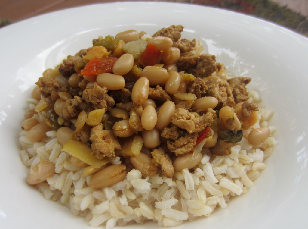 white bean chili soup over rice