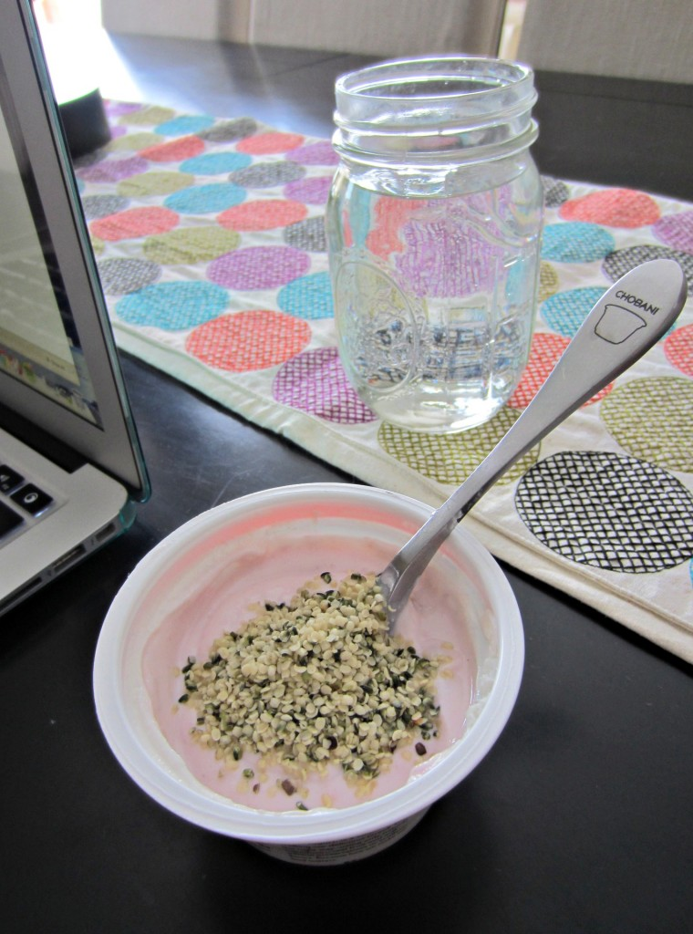 greek yogurt with hemp heart seeds
