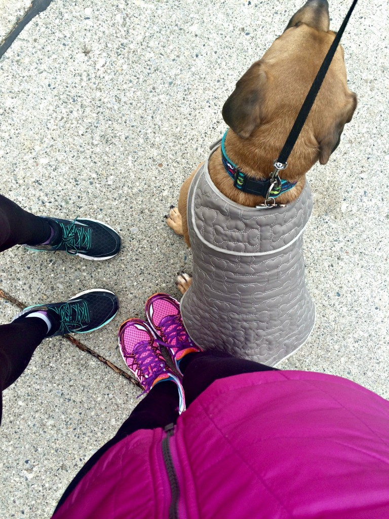 running with roadie and mom