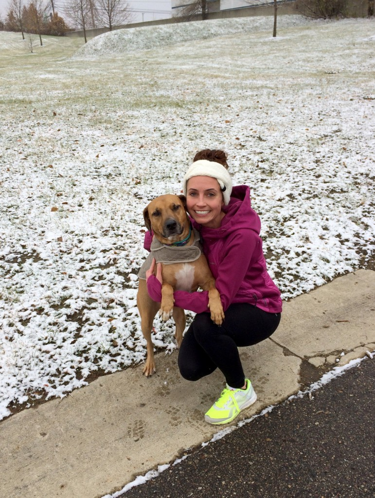 running with roadie in the snow