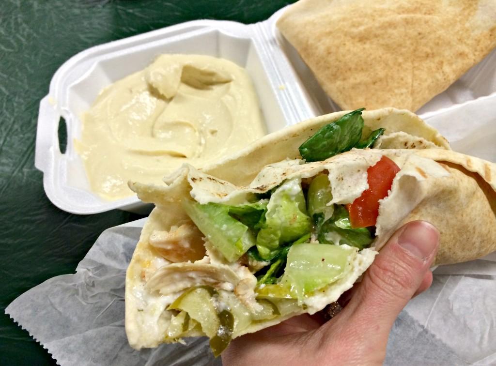 shawarma pita and hummus