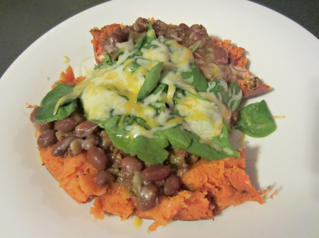 sweet potato loaded with chili spinach and cheese